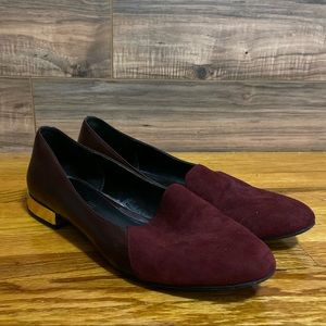 Aldo Burgundy Suede and Leather Flats Loafer Gold